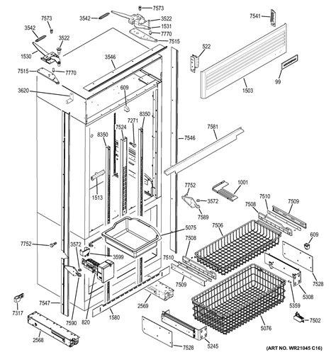 assembly view  freezer section trim components zippnhbss