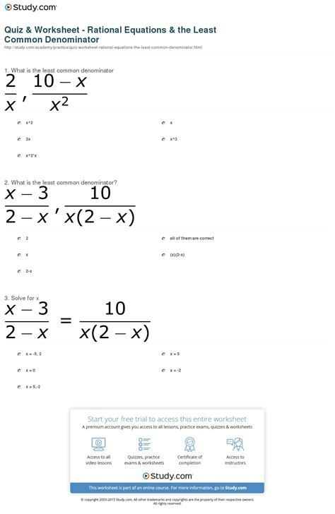 finding least common denominator worksheet free worksheets