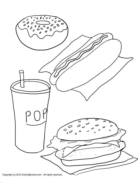 cuisine color junk food coloring pages designs junk best free coloring