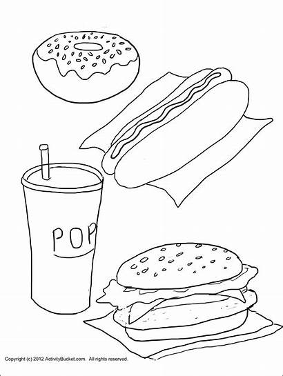 Junk Unhealthy Pages Coloring Healthy Printable Worksheets