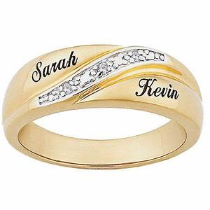 personalized men39s diamond accent 10kt gold engraved name With wedding ring names