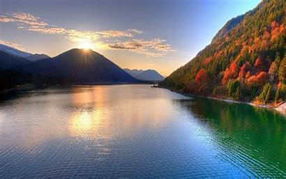 Scenery Sunset Water Mountains Lakes Wallpapers Mountain