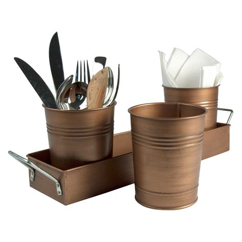 caddy copper flatware cutlery antique utensil holder kitchen galvanized bucket tray cups storage oasis metal picnic accent planter condiment caddies