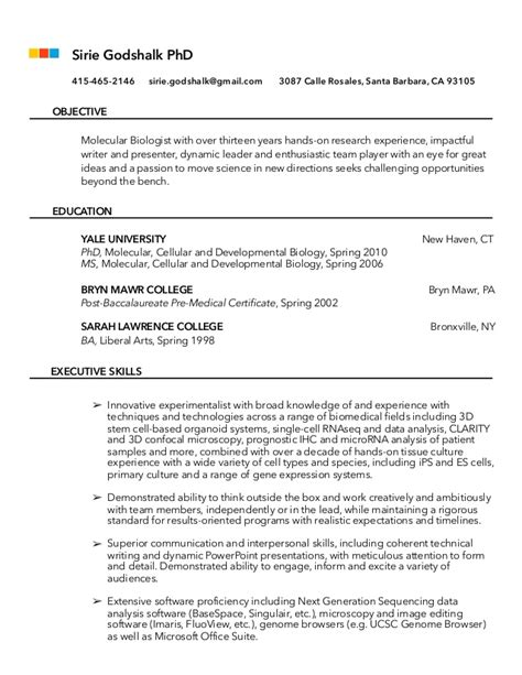Molecular Biology Resume Objective by Molecular Biologist Academic Cv For Industry Or Sector Consid