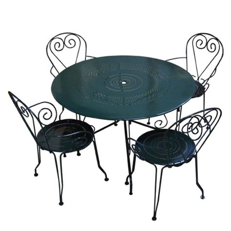 salon de jardin m 233 tal table 4 chaises vert oogarden