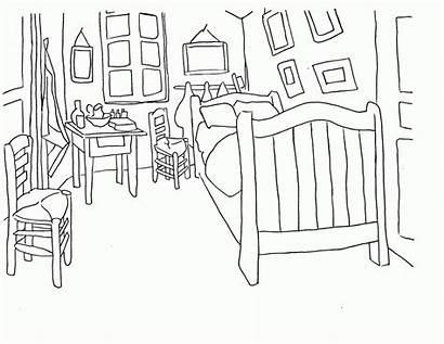 Coloring Bedroom Pages Van Gogh Sleep Drawing