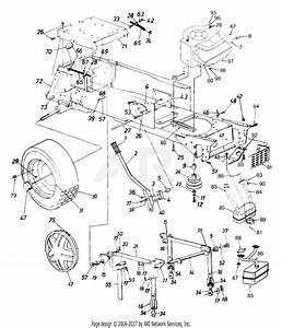 Mtd 14ai825p352  1999  Parts Diagram For Deck Lift  Wheel Rear  Muffler And Engine Accessories