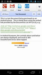 issue previewing google docs text documents using embed With google docs api for android