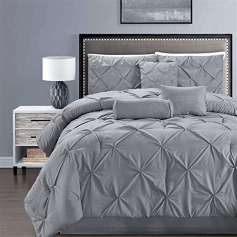 piece solid grey pinch pleat duvet cover set twin size