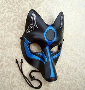 Black and Blue Okami Kitsune Mask... Japanese Fox Leather Mask
