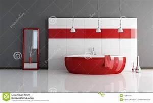 salle de bains rouge et blanche de mode photos libres de With salle de bain rouge et blanche