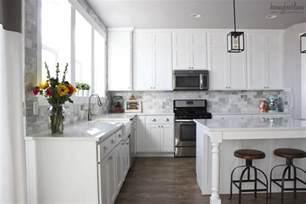 subway tile kitchen backsplash pictures my diy marble backsplash honeybear