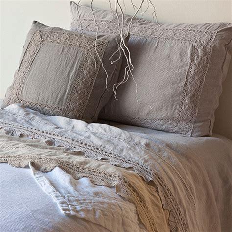 Bella Notte Linens  Linen With Crochet Lace Flat Sheet