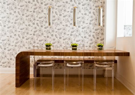 clear dining chairs with wood table dining room