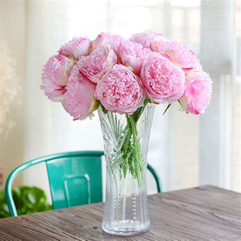 great cheap artificial fake peony silk flowers bridal