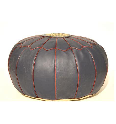 leather pouf  leather ottoman blue