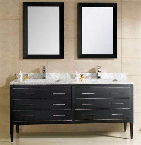 At Adoos  Inch Modern Double Sink Bathroom Vanity Black
