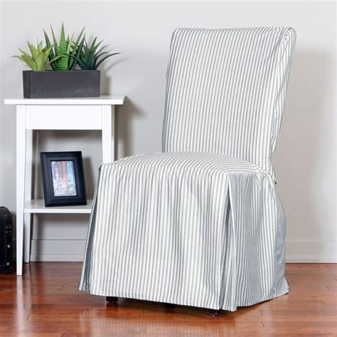 ticking stripe relaxed fit long box pleat parsons chair