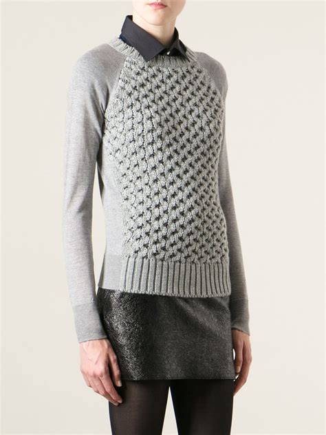 moncler sweater moncler cable knit sweater in gray lyst