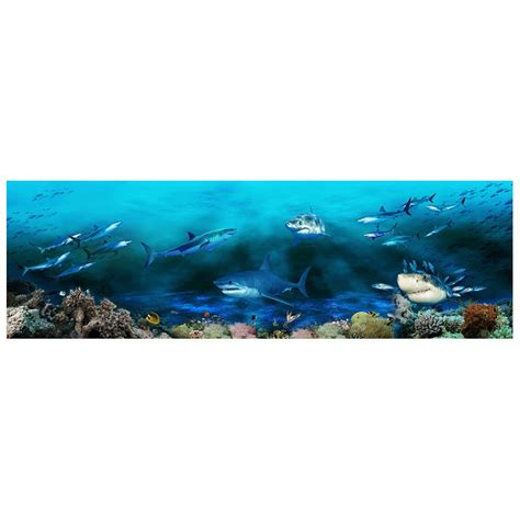 poster grand format mural simple poster gant mural grand format panoramique paysage fond marin les requins with grand