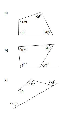 angles in a quadrilateral worksheets and solutions