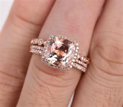limited time sale 2 carat morganite diamond trio wedding bridal ring in 10k rose gold one
