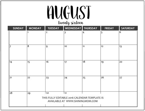 Word Calendar Template Just In Fully Editable 2016 Calendar Templates In Ms Word