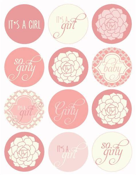 vintage pink baby shower printable party circles instant