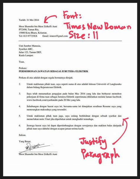 Contoh Cover Letter In by Contoh Cover Letter Jawatan Juruteknik