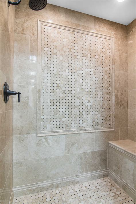 12 Awesome Marble In Shower Design Ideas by Bathroom Shower Focal Point Tile Cappuccino Niles With