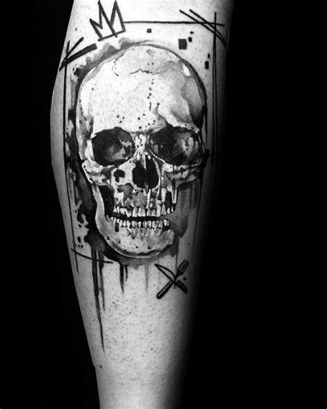 40 Watercolor Skull Tattoo Designs For Men - Colorful Ink Ideas