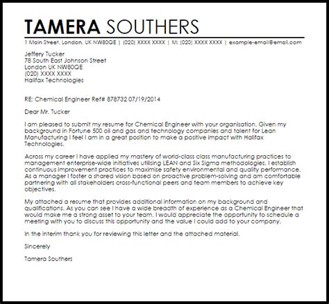 chemical engineer cover letter sle livecareer