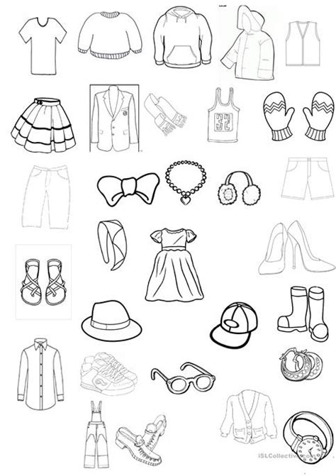 clothing esl coloring pages