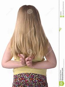 Girl With Fingers Crossed Behind Back Stock Photos - Image ...