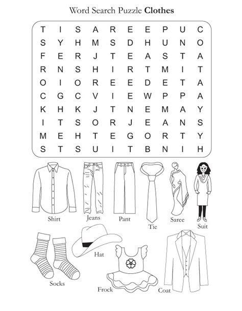 word search puzzle clothes free word search
