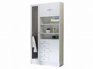 armoire de salle de bain 1 miroir 4 portes 5 tiroirs With porte de douche coulissante avec meuble salle de bain 6 tiroirs