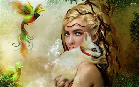 women white rabbit paradise bird approaches fantasy