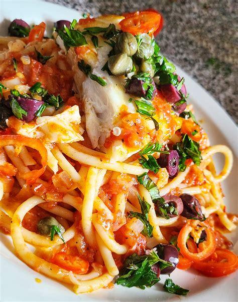 grouper capers kalamata spaghetti olives kalofagas greek