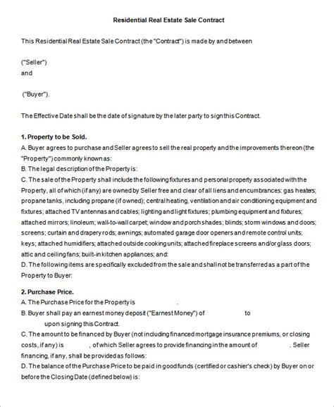 Home Sale Contract Template by 6 Real Estate Contract Templates Pdf Doc Free