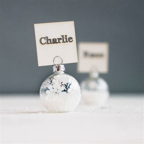 christmas baubles name holders silver snowflake bauble place name holders by postbox notonthehighstreet
