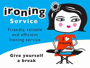 esani illustration of an ironing lady With ironing service flyer template