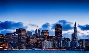 San Francisco California USA Bay evening city sky ...