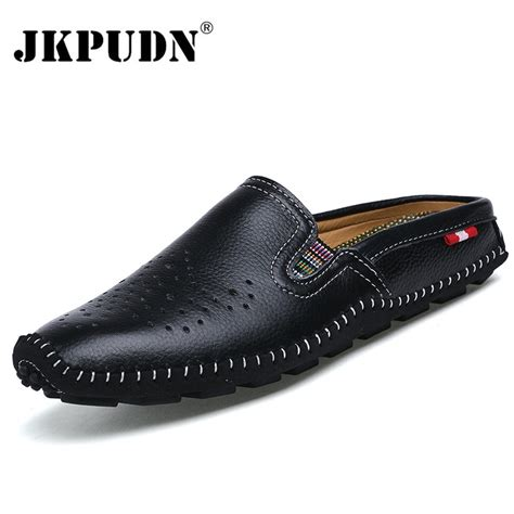 jkpudun genuine leather mens shoes casual penny loafers