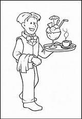 Waiter Coloring Pages Printable Waitress Plateau Community Helpers Sheet Sheets Opossum Coloringpagesfortoddlers Preschool Jobs Worksheets Profession Getcolorings Fun Helper Dari sketch template