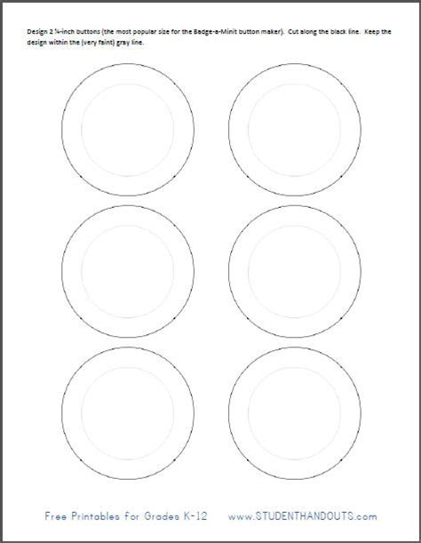 printable template  making    buttons student