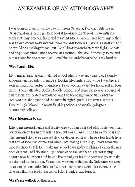 Sle Biography Template For Students by The 25 Best Autobiography Template Ideas On