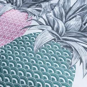 Housse De Couette Ananas : parure housse de couette ananas blanc vert 220x240cm 2 personnes 100 coton ~ Teatrodelosmanantiales.com Idées de Décoration