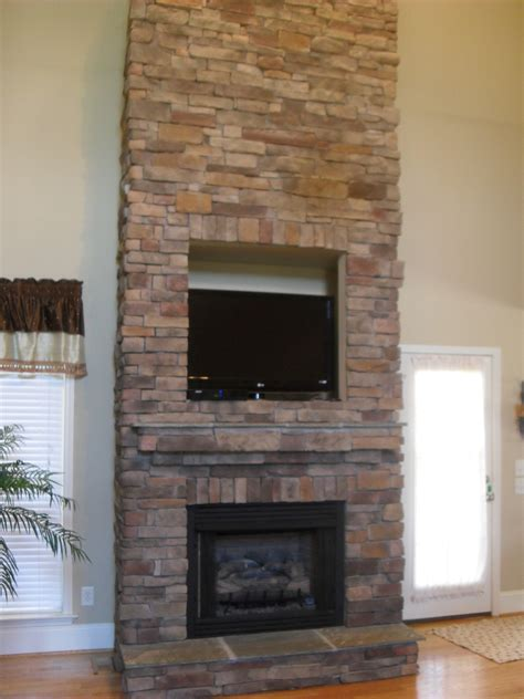 High Resolution Stacked Stone Fireplace Surround 6