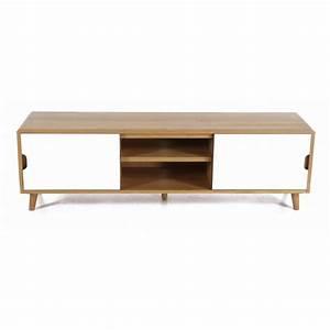 Tele 180 Cm : meuble tv ch ne massif et formica blanc l180cm elfy trendy homes ~ Teatrodelosmanantiales.com Idées de Décoration