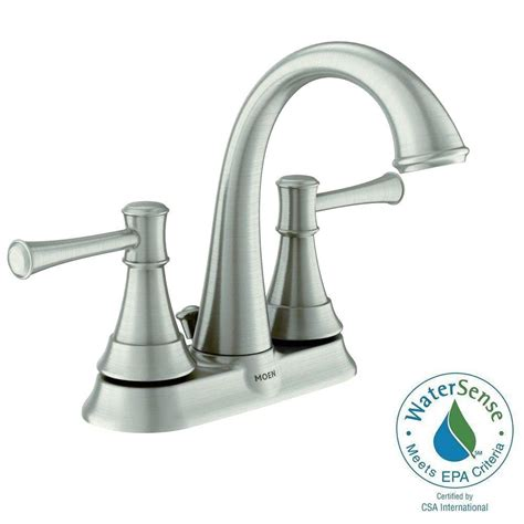 home depot bathroom sink faucets moen moen adler 4 in centerset 2 handle low arc bathroom